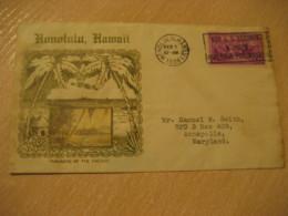 HONOLULU 1938 ACME Trans-Pacific Service Paradise Of Pacific Diamond Head Buy U.S. Savings Bonds HAWAII Cancel Cover USA - Hawaï