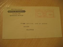 HONOLULU 1944 Bank Of HAWAII Meter Mail Cancel Cover USA - Hawaï