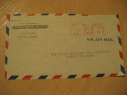 HONOLULU 1949 Bank Of HAWAII Meter Air Mail Cancel Cover USA - Hawaï
