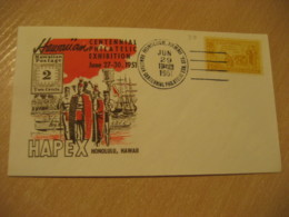HONOLULU 1951 HAPEX Centennial Philatelic Exhibition HAWAII Cancel Cover USA - Hawaï