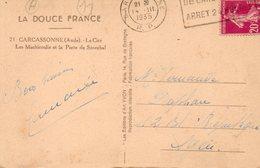 1935   CARTOLINA CON ANNULLO  CARCASONNE - Francia