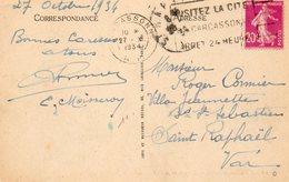 1934   CARTOLINA CON ANNULLO  CARCASONNE - Francia