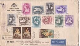 ENVELOPPE CIRCULEE 1963 SAN MARINO A LA PLATA(ARGENTINE) PAR AVION. MIXED STAMPS AVEC BORD DU PLAQUE..-BLEUP - San Marino