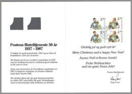Norvege Yv 940a +941a Paires Verticales :Noël,enfants,chat,chien,s/carte De Voeux Double à Fenêtre 50ans Des Services - Noël