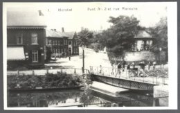 Reproduction Photo Carte Postale : HERSTAL, Pont N°2 Et Rue Marexhe.dos Vierge - Herstal