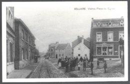 Reproduction Photo Carte Postale: Bellaire, Vicinal,place De L'Eglise .dos Vierge - Beyne-Heusay