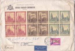 ENVELOPPE CIRCULEE 1957 SAN MARINO A LA PLATA(ARGENTINE) PAR AVION. STAMP BLOCK, 5 COLOR STAMPS....-BLEUP - San Marino