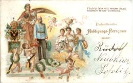Kaiser Franz Josef - Hulidungskarte Gelaufen - Litho - Familles Royales