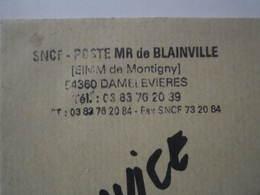 Lettre SNCF Oblitération Cachet Poste MR De BLAINVILLE (EIMM De MONTIGNY) - Chemin De Fer