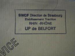 Lettre SNCF Oblitération Cachet Direction STRASBOURG  E Traction UP De BELFORT - Chemin De Fer