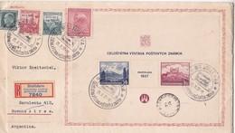 RARE ENVELOPPE CIRCULEE AVEC BLOC & TIMBRE REGISTERED MAIL BRATISLAVA A BUENOS AIRES 1937. CHECOSLOVAQUIA -BLEUP - Tchécoslovaquie