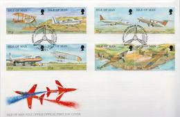 Isle Of Man Set On FDC - Airplanes