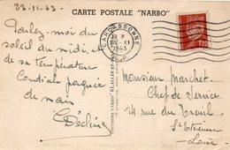 1943 CARTOLINA CON ANNULLO  CARCASONNE - Storia Postale