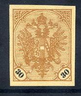BOSNIA & HERZEGOVINA 1901 Arms 30 H. Imperforate Without Gum.  Michel 25U - Bosnie-Herzegovine