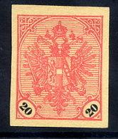BOSNIA & HERZEGOVINA 1901 Arms 20 H. Imperforate Without Gum.  Michel 24U - Bosnie-Herzegovine