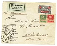 Schweizer Flugpostbrief (Afrikaflug 1926) Von Bern Nach Makassar(Indonesien) - Suiza