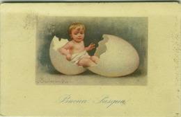 COLOMBO SIGNED POSTCARD 1920s - KID WITH BIG EGG - N. 596-1 ( BG29) - Colombo, E.