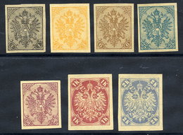 BOSNIA & HERZEGOVINA 1900 Arms Seven Values. Imperforate On Thin Paper Without Gum. - Bosnia And Herzegovina