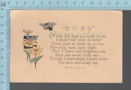CPA -Busy Poem, Poeme Par G.D. Parker   - Cover: Melrose Mass. 1925 With USA Stamp - Fêtes - Voeux
