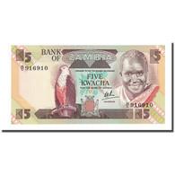 Billet, Zambie, 5 Kwacha, Undated (1980-88), KM:25c, NEUF - Zambia
