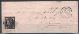 1849 - CERES N° 3 (TB) OBLITÉRÉ GRILLE Sur LETTRE LSC CAD CREPY EN VALOIS Pour MEAUX SEINE ET MARNE - 1849-1850 Ceres