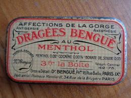 ANCIENNE BOITE DRAGEES BENGUE AU MENTHOL, AFFECTIONS DE LA GORGE - Boxes