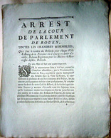BILLARD JEUX CLANDESTINS  ARRET DE LA COUR LIMITANT LE NOMBRE DE BILLARDS EN NORMANDIE 1789 - Autres Collections