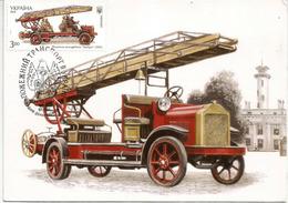 Lutte Conte Le Feu, Camion De Pompier Année 1921, Belle Carte Maximum, Adressée Andorra, Avec Timbre à Date Arrivée - Sapeurs-Pompiers
