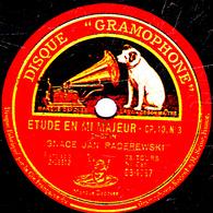 78 Trs - 30 Cm - état B - IGNACE JEAN PADEREWSKI - ETUDE EN MI MAJEUR  CHOPIN - IMPROMPTU EN LA BEMOL SCHUBERT - 78 T - Disques Pour Gramophone