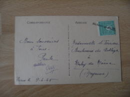 Meslay Du Maine  Griffe Marque Lineaire Obliteration De Fortune Sur Timbre Arc Triomphe 1 F  Vert - Poststempel (Briefe)