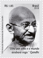 BRAZIL Stamp  India Mahatma Gandhi Gandhiji 2018 - Brasile