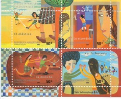 ARGENTINA 2003 TRADITIONAL GAMES, CHILDREN, MINIATURE SHEET, 4 VALUES MICHEL BL 79 SCOTT 2247 - Argentine