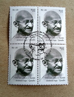 BRAZIL Stamps BLOCK OF 4 SPECIAL CANCEL Gandhi India Mahatma Gandhiji 2018 - Brazil