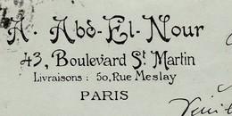 Carte Commerciale  1918 / A. Abd El Nour / 43 Bd St Martin / 75 Paris - Cartes