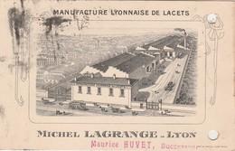 """Carte Commerciale  1937 / Michel Lagrange / Manufacture Lacets / 69 Lyon / Cachet Daguin """"Touristes..."""" - Cartes"""