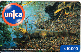 VENEZUELA - Crocodile, Un1ca By CANTV Prepaid Card Bs.10000, Used - Cocodrilos Y Aligatores