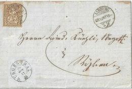 Faltbrief  Aarburg - Murgenthal - Bützberg          1867 - 1862-1881 Helvetia Seduta (dentellati)