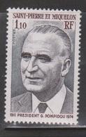 ST PIERRE & MIQUELON Scott # 466 Mint NH - Georges Pompidou - Unused Stamps