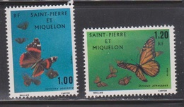 ST PIERRE & MIQUELON Scott # 439-40 Mint NO GUM - Butterflies - St.Pierre & Miquelon