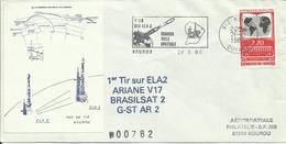 ESPACE - Lancement ARIANE V17 - 28/03/1986 - CENTRE SPATIAL GUYANAIS - Enveloppe AEROSPATIALE PHILATELIE - FDC & Gedenkmarken