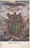 AK Einigkeit Macht Stark - österr. Deutsch Und Türkische Soldaten - Fahnen - Patriotika - Feldpost III/25 - 1916 (37953) - Weltkrieg 1914-18