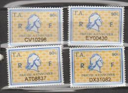 Série Timbres Fiscaux -  4 Timbres Amende Millésime 01- 02 - 03 - 04 - Revenue Stamps