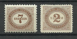 Österreich AUSTRIA 1895/1900 Porto Postage Due, 2 Stamps, Unused */(*) - Postage Due