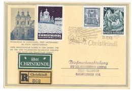 20934 - Christkindl  24.12.1963 Pour Graz Recommandé Avec Vignette + Über Christkindl - 1945-.... 2ème République