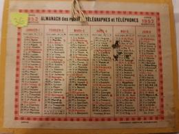 CALENDRIER 1952 PETIT FORMAT ALMANACH DES POSTES IMPRIMERIE OBERTHUR - Calendriers
