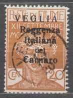 Fiume 1920 Carnaro Islands - Veglia (Krk) Mi#30 II Sassone#7 Small Letter Overprint, Caratteri Piccoli, Used - 8. WW I Occupation