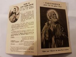 CALENDRIER 1934 OEUVRE SAINT PIERRE APOTRE - Calendriers
