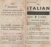 Documento Di Riconoscimento Per Prigionieri Di Guerra - Somerhill POW Camp Tonbridge - Documents