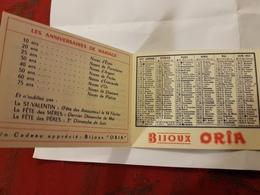 CALENDRIER 1957 BIJOU ORIA - Calendriers