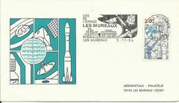 ESPACE - 1er JOUR FLAMME ARIANE AUX MUREAUX - 05/11/1984 - AEROSPATIALE PHILATELIE - FDC & Commemoratives